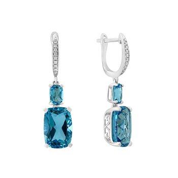 - 14k White Gold Diamond and 10.51Ctw. Swiss Blue Topaz Gemstone Dangle/Drop Latch Back Earrings