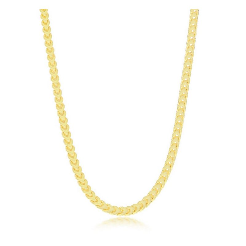 Fashion Jewelry Collection  - Sterling Silver 14k Yellow Gold Plated 3mm Franco Chain Necklace for Men