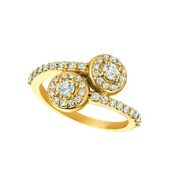 14k Gold 0.82ctw. Diamond 2-Stone Halo Accented Cocktail Anniversary Ring