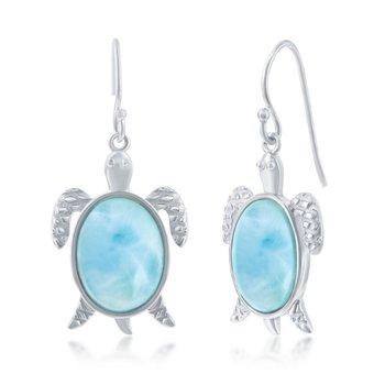 - Caribbean Treasures Sterling Silver Larimar Gemstones Turtle Fishhook Dangle Drop Earring Pair