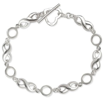 - Sterling Silver Infinity Heart Toggle Link Bracelet - 7.50""
