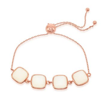 - Simona Sterling Silver 14k Rose Gold Plated Natural White Moonstone Adjustable Bolo Bracelet