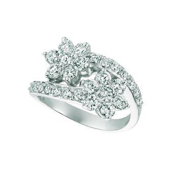 14k Gold 1.85ctw. Diamond 2-Flower Cocktail Anniversary Ring