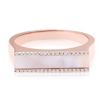 1/10ct. Diamond & Mother-of_Pearl 14k Rose Gold Right Hand Band Ring