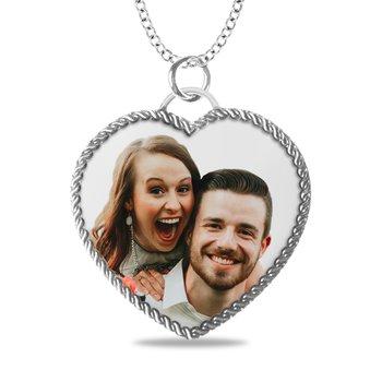- Medium Rope Heart Laser Enameled 25x27mm Customized Engravable Photo Picture Pendant