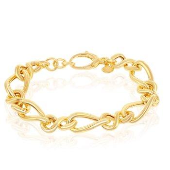 "- Bella Moda Sterling Silver w/14k Yellow Gold Overlay Alternating Infinity & Twisted Link Chain Bracelet - 7.50"""