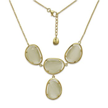 """- Simona Sterling Silver 14k Yellow Gold Plated Nude Yellow Cat's Eye Y Neckalce - 18"""""""