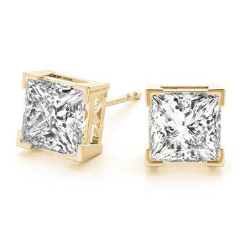 Natural Diamond OR Lab-Grown Diamond Princess Square Stud Earrings Pair