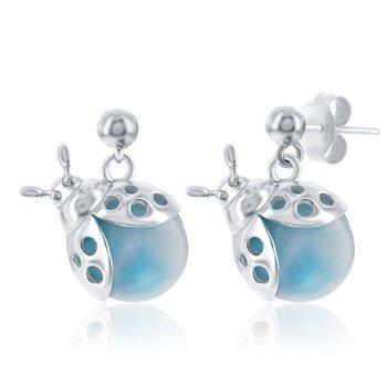 - Caribbean Treasures Sterling Silver Larimar Gemstones Lady Bug Dangle Drop Earring Pair
