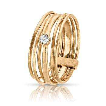 1/15ct. Diamond 14k Yellow Gold Solitaire Stackable Italian-Inspired Right Hand Ring