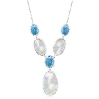 """- Simona Sterling Silver Alternating Oval Blue Topaz and Mother-of-Pearl Y Neckalce - 16"""""""
