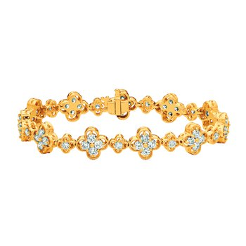 14K Gold 5.42ctw. Diamond Clover Tennis Bracelet