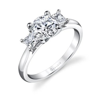 - Three-Stone Princess-Shaped Diamonds Semi-Mount Engagement Ring