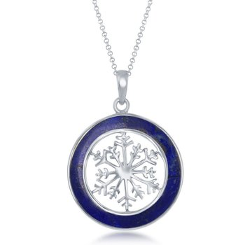 - Sterling Silver Lapis Snowflake Round Pendant with Chain