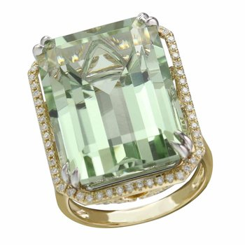 """""""Limited-Edition"""" Collection 18k Yellow Gold Diamond Halo and Green Amethyst Center Cocktail Ring"""