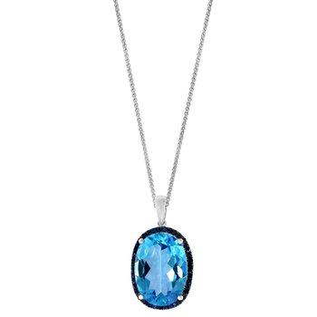 - 14k White Gold Swiss Blue Topaz Center and Sapphire Gemstones Chain Pendant