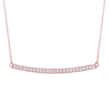 14K Gold 0.25ctw. Diamond Curved Bar Chain Necklace
