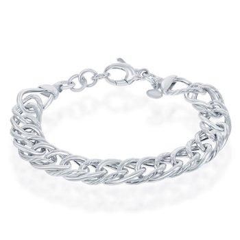 """- Bella Moda Sterling Silver Polished & Rope Design Link Chain Bracelet - 8"""""""