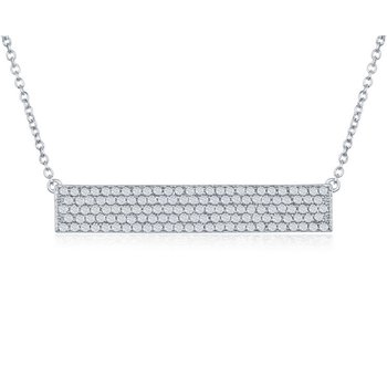 Sterling Silver Multi Row CZ Horizontal Bar Chain Necklace