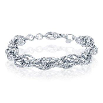 """- Bella Moda Sterling Silver Stripped Multi-Oval Link Chain Bracelet - 8.50"""""""