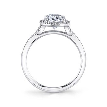 - Unique Halo Diamond Accented Floral-Inspired Semi-Mount Engagement Ring & Wedding Band