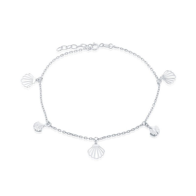 """Fashion Jewelry Collection  - Sterling Silver Alternating Flat & Puffed Seashell Charms Chain Anklet - 9"""""""