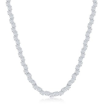 - Sterling Silver Zig-Zag Set with 4mm Round CZ Stones Tennis Necklace - 17""