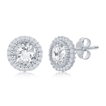 Sterling Silver 10mm Round Center CZ Halo Stud Earrings