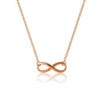 """- Sterling Silver 14k Gold Plated Infinity Chain Necklace - 16"""""""