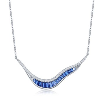 Sterling Silver 'V' Shape White Round CZ and Blue Baguette CZ Chain Necklace