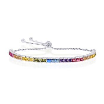 - Sterling Silver Multi-Color Rainbow Square CZ 4mm Adjustable Bolo Bracelet