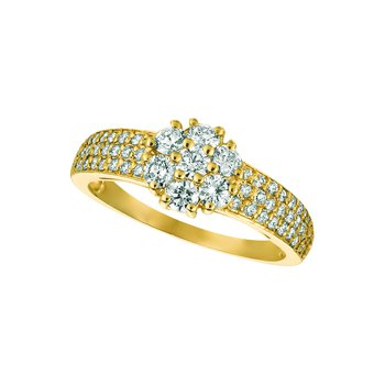 14K Gold 1.01ctw. Diamond Flower Floral 7-Stone Center Accented Cocktail Anniversary Ring