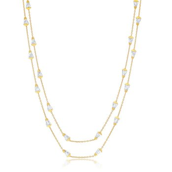 """- Sterling Silver 14k Yellow Gold Plated Daimond-Cut Cone Shaped Beads Station Chain Necklace - 60"""""""
