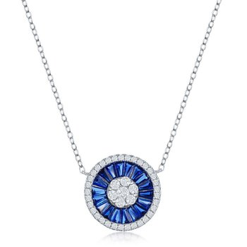 Sterling Silver White Round CZ and Blue Baguette CZ Circle Chain Necklace