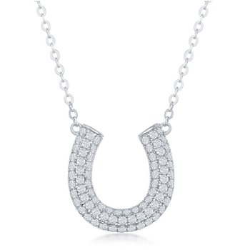 Sterling Silver Micro Pave Cubic Zirconia CZ Horseshoe Chain Necklace