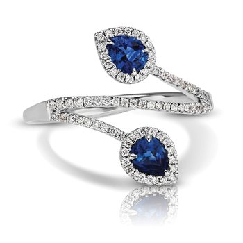 - 1/5ctw. Diamond & 1/2ctw. Blue Sapphire Pear Gemstone 14k Gold Right Hand Ring