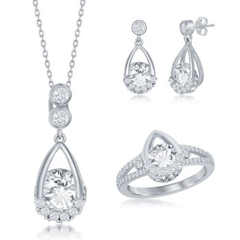 Sterling Silver CZ Pendant Chain Necklace and Ring and Earrings Set