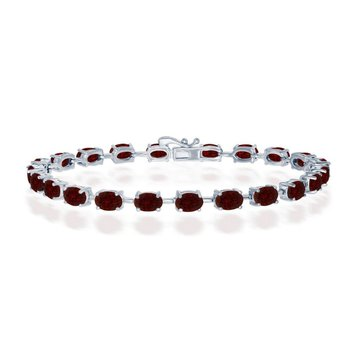 "- Sterling Silver Garnet Oval Gemstone Link Tennis Bracelet - 7.50"""