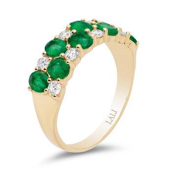 - 14k Yellow Gold Diamond and Emerald Gemstone Anniversary Band Ring
