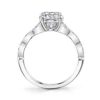 - Unique Vintage Solitaire Round-Shaped Diamond Accented Floral Semi-Mount Engagement Ring