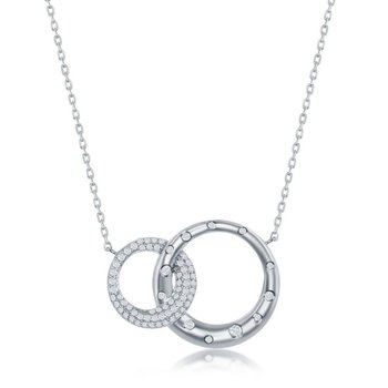 Sterling Silver Micro Pave Set CZ Interlocking Circles Chain Necklace