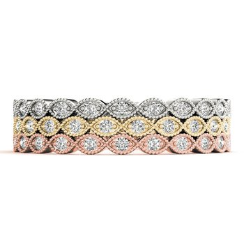 1/8ctw. Diamond Anniversary Wedding Stackable Milgrain Ring Band