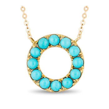- 10k Yellow Gold Turquoise Gemstones Eternity Circle of Love Chain Necklace