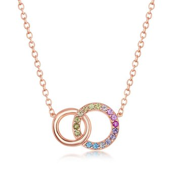 """- Sterling Silver Gold Plated Multi-Color Rainbow Round CZ Interlocking Linked Circles Necklace - 16"""""""
