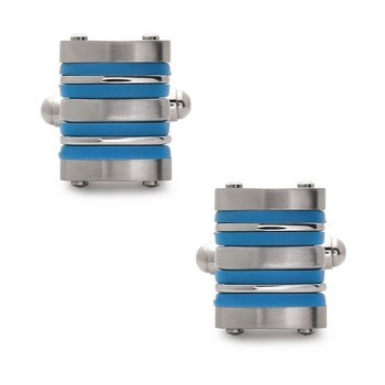 - Stainless Steel Orange Rubber Striped Cuff Links for Men
