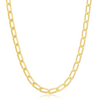- 14k Yellow Gold Plated Sterling Silver 4.3mm Elongated Flat Paper Clip Style Cable Link Chain Anklet/Bracelet/Necklace