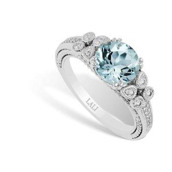- 14k White Gold Aquamarine Center and Diamond Fancy Anniversary Ring
