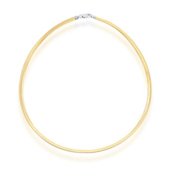 - Sterling Silver Two-Tone 14k Yellow Gold Plated 4mm Reversible Omega Necklace