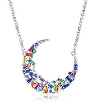 """Sterling Silver Multi-Color Rainbow Baguette and Round CZ Crescent Moon Necklace - 16"""""""