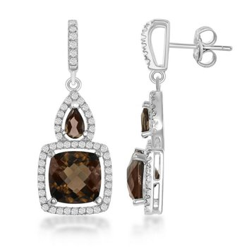 - Bellissima Sterling Silver Pear and Square Cut Smoky and White Topaz Gemstones Dangle Drop Earring Pair